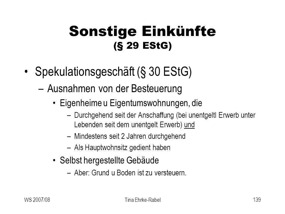 Sonstige Einkünfte (§ 29 EStG)