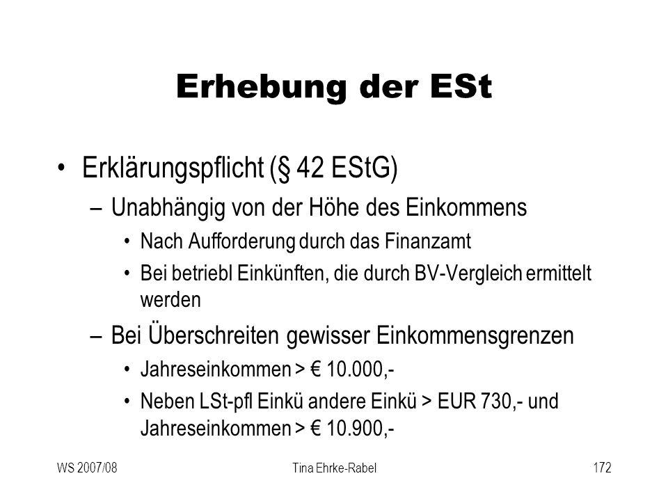 Erhebung der ESt Erklärungspflicht (§ 42 EStG)