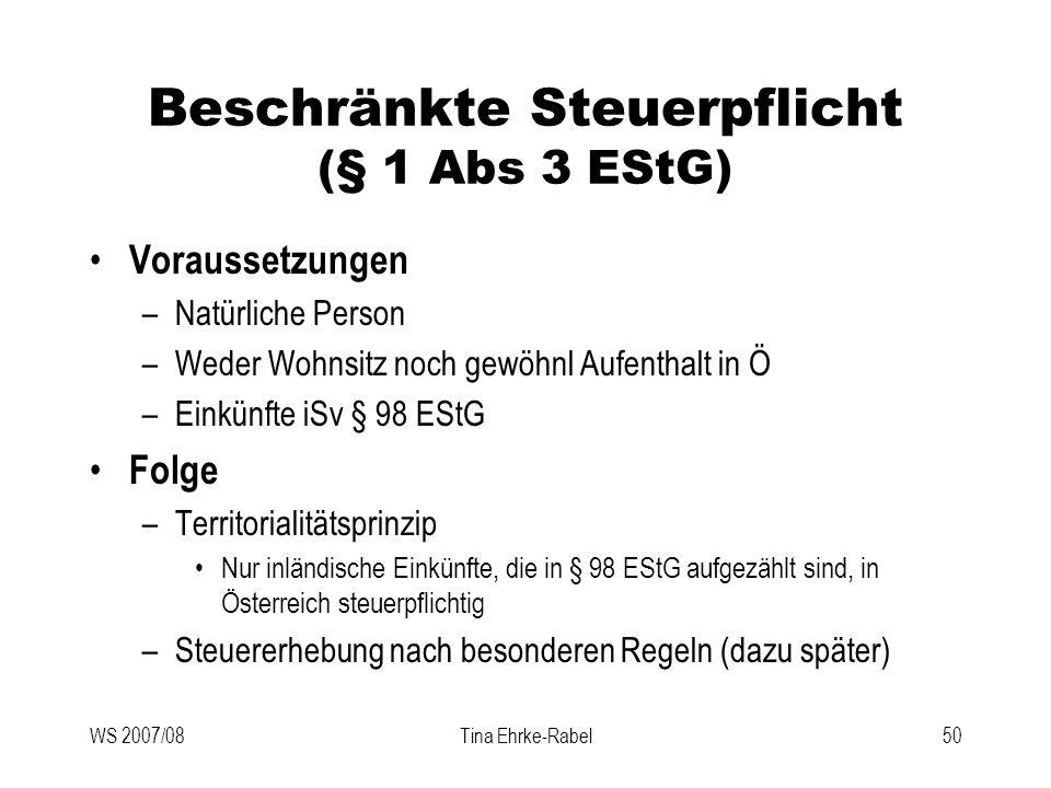 Beschränkte Steuerpflicht (§ 1 Abs 3 EStG)