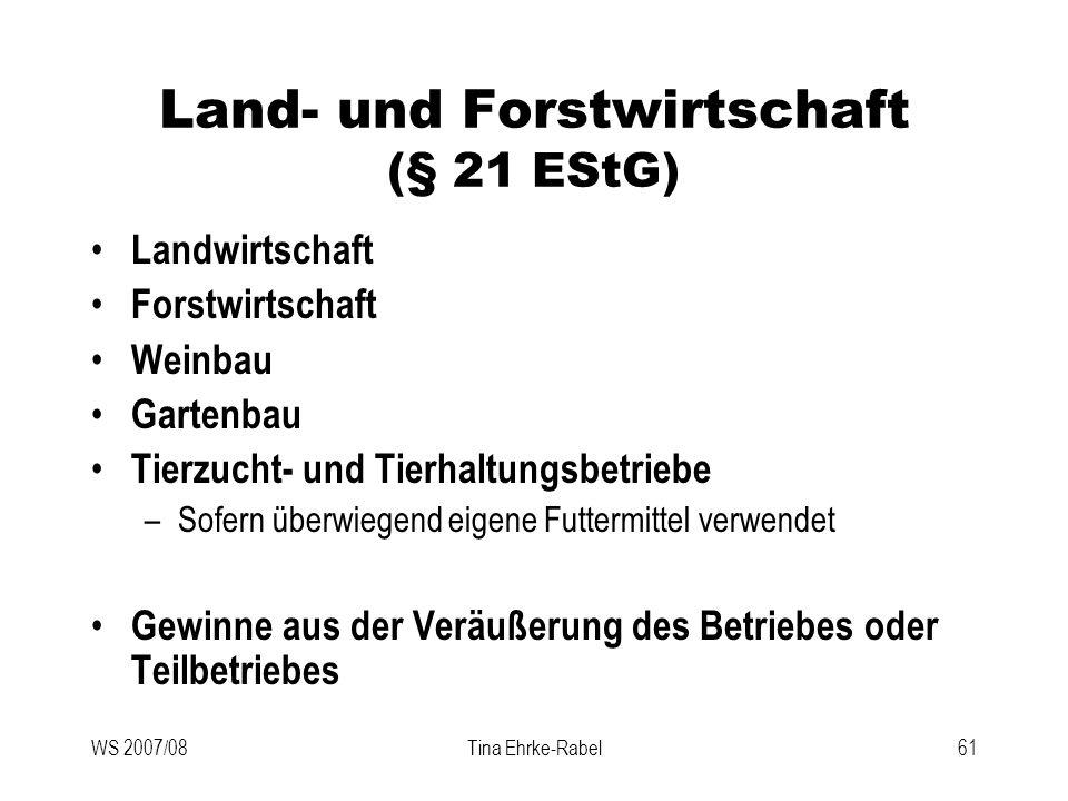 Land- und Forstwirtschaft (§ 21 EStG)