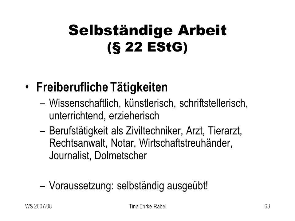 Selbständige Arbeit (§ 22 EStG)