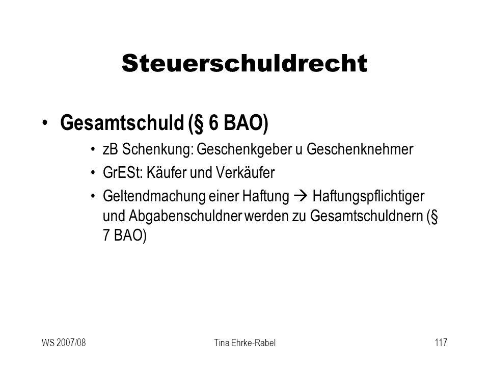 Steuerschuldrecht Gesamtschuld (§ 6 BAO)