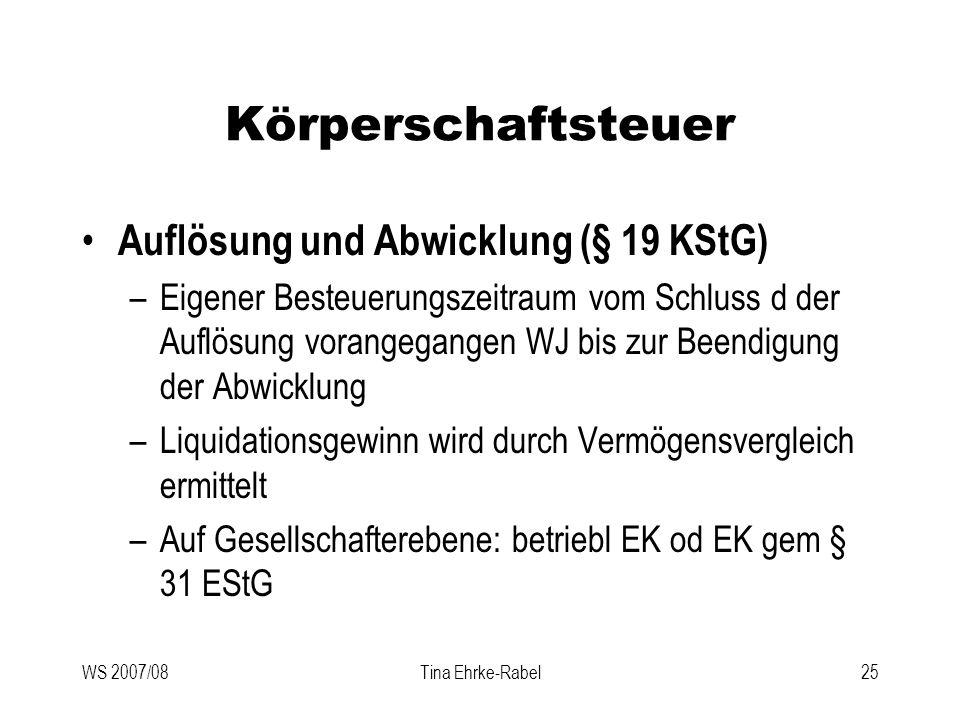 Körperschaftsteuer Auflösung und Abwicklung (§ 19 KStG)