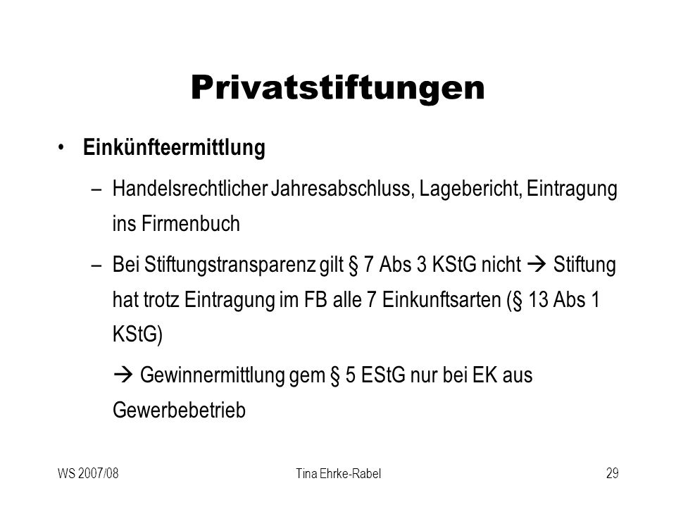 Privatstiftungen Einkünfteermittlung