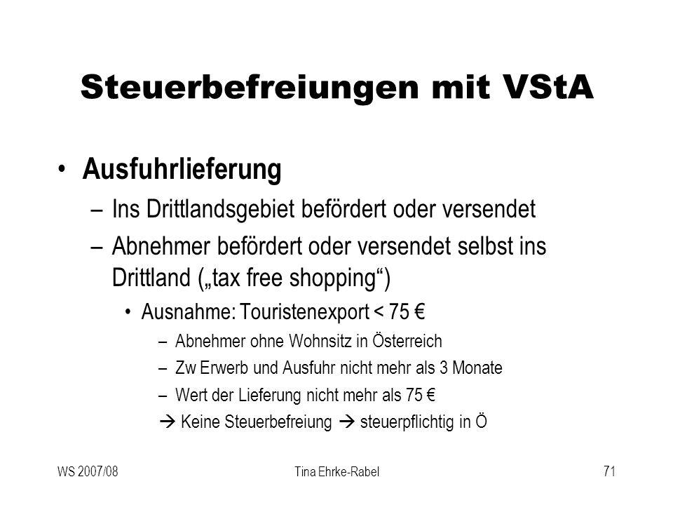 Steuerbefreiungen mit VStA