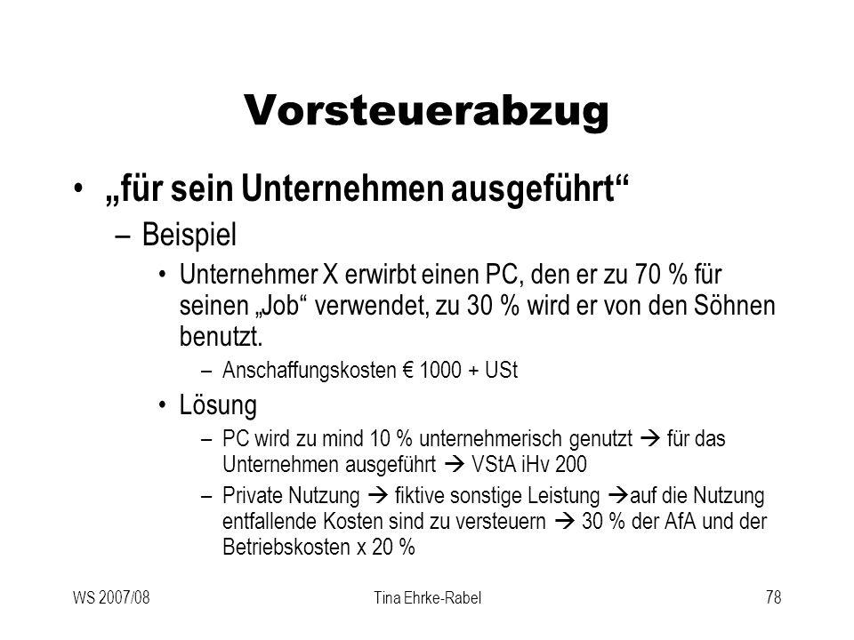"""Vorsteuerabzug """"für sein Unternehmen ausgeführt Beispiel"""