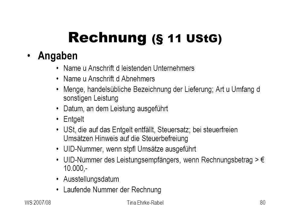 Rechnung (§ 11 UStG) Angaben