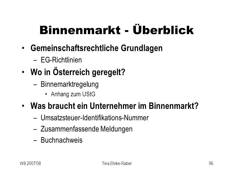 Binnenmarkt - Überblick