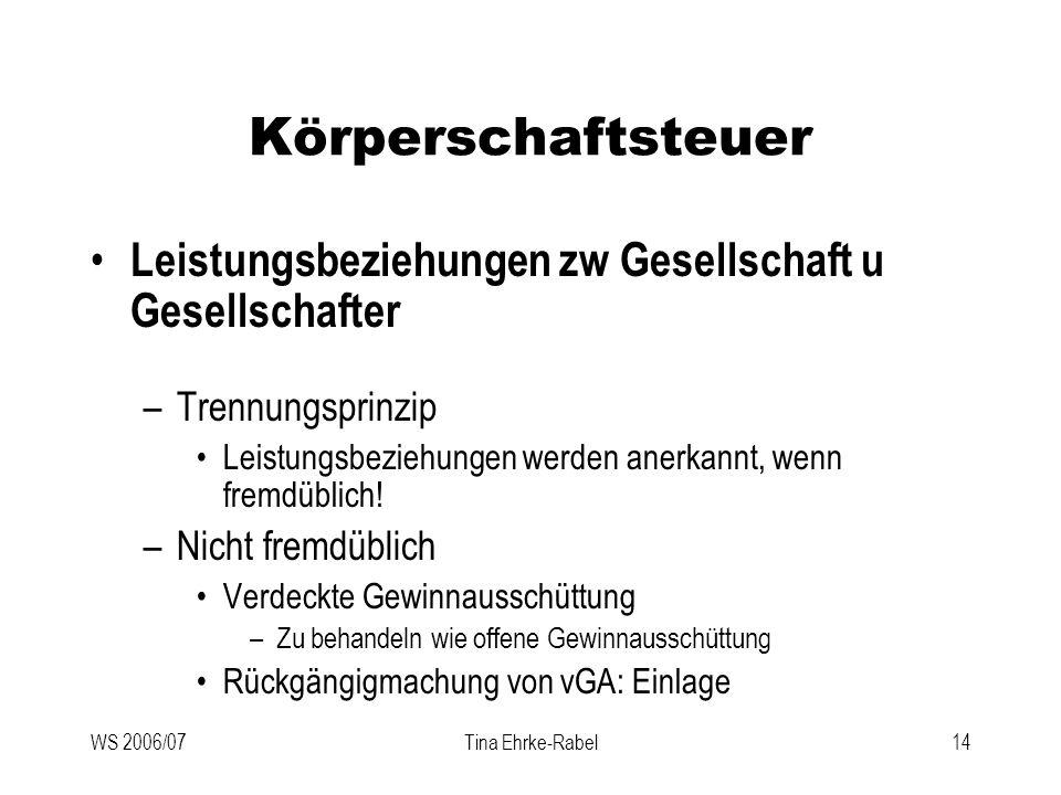 Körperschaftsteuer Leistungsbeziehungen zw Gesellschaft u Gesellschafter. Trennungsprinzip.