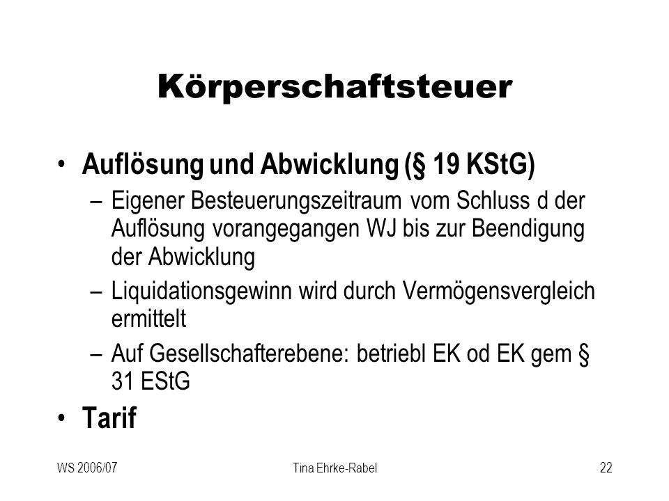 Körperschaftsteuer Auflösung und Abwicklung (§ 19 KStG) Tarif
