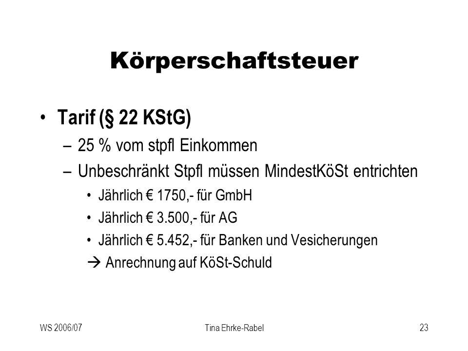 Körperschaftsteuer Tarif (§ 22 KStG) 25 % vom stpfl Einkommen
