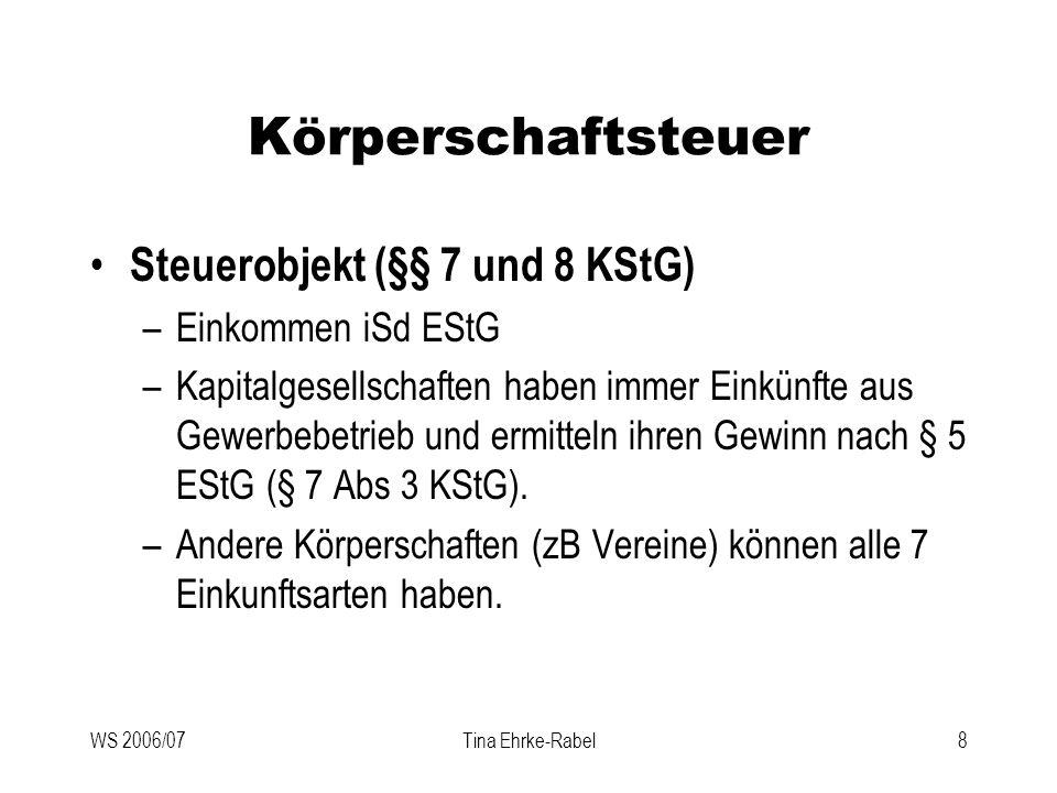 Körperschaftsteuer Steuerobjekt (§§ 7 und 8 KStG) Einkommen iSd EStG