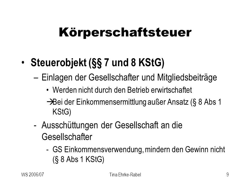 Körperschaftsteuer Steuerobjekt (§§ 7 und 8 KStG)