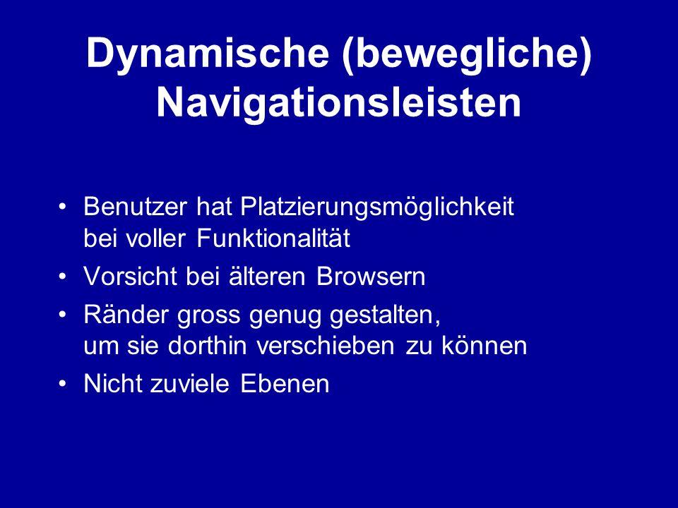 Dynamische (bewegliche) Navigationsleisten