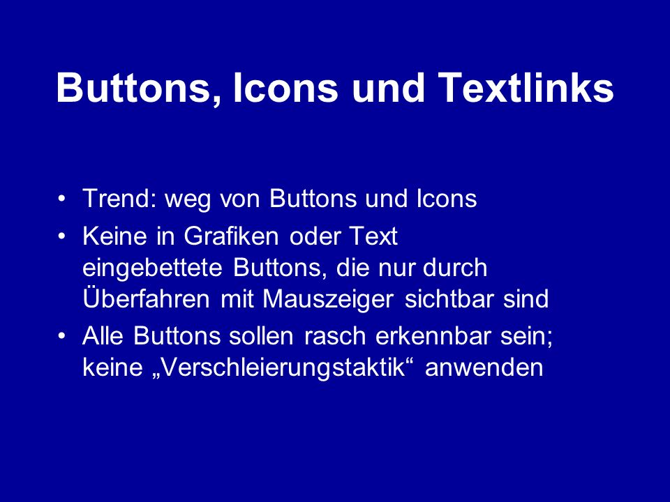 Buttons, Icons und Textlinks