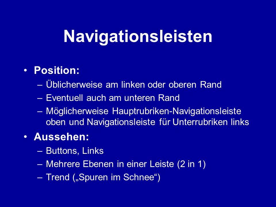 Navigationsleisten Position: Aussehen: