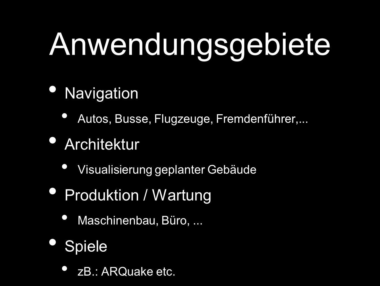 Anwendungsgebiete Navigation Architektur Produktion / Wartung Spiele