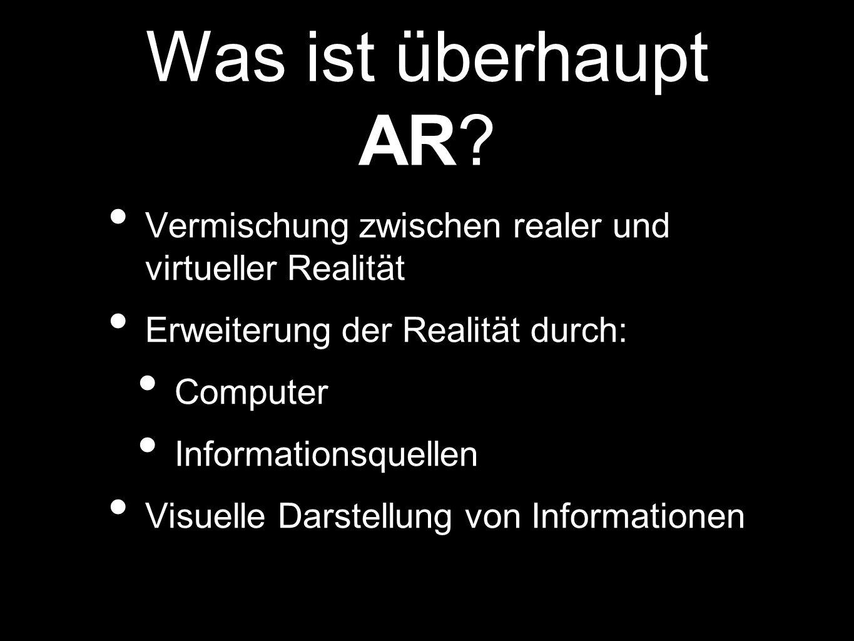 Was ist überhaupt AR Vermischung zwischen realer und virtueller Realität. Erweiterung der Realität durch: