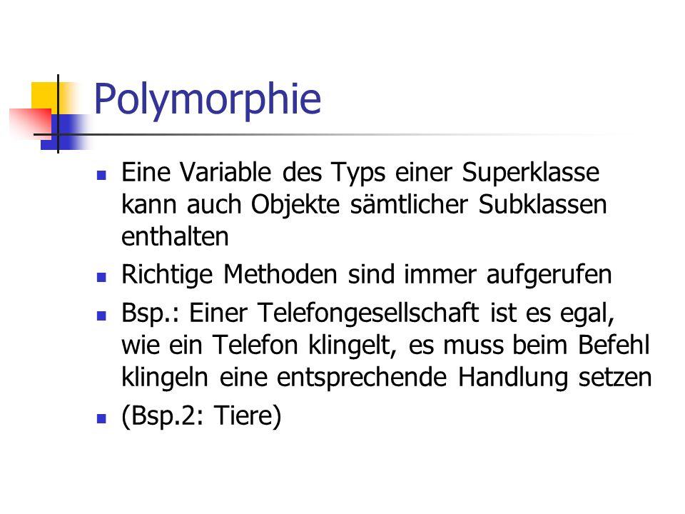 Polymorphie Eine Variable des Typs einer Superklasse kann auch Objekte sämtlicher Subklassen enthalten.