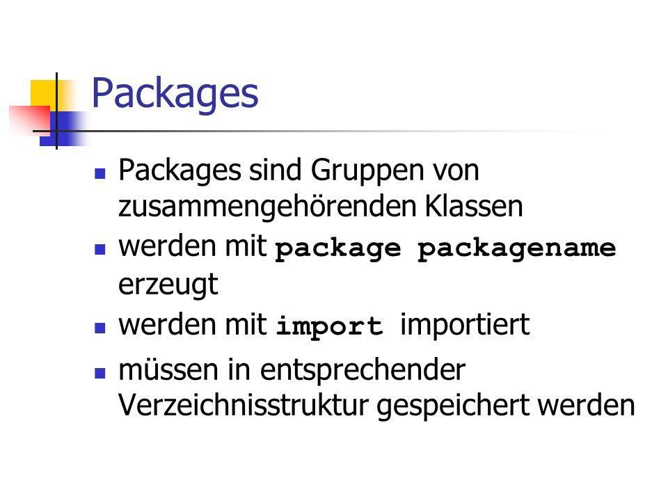 Packages Packages sind Gruppen von zusammengehörenden Klassen