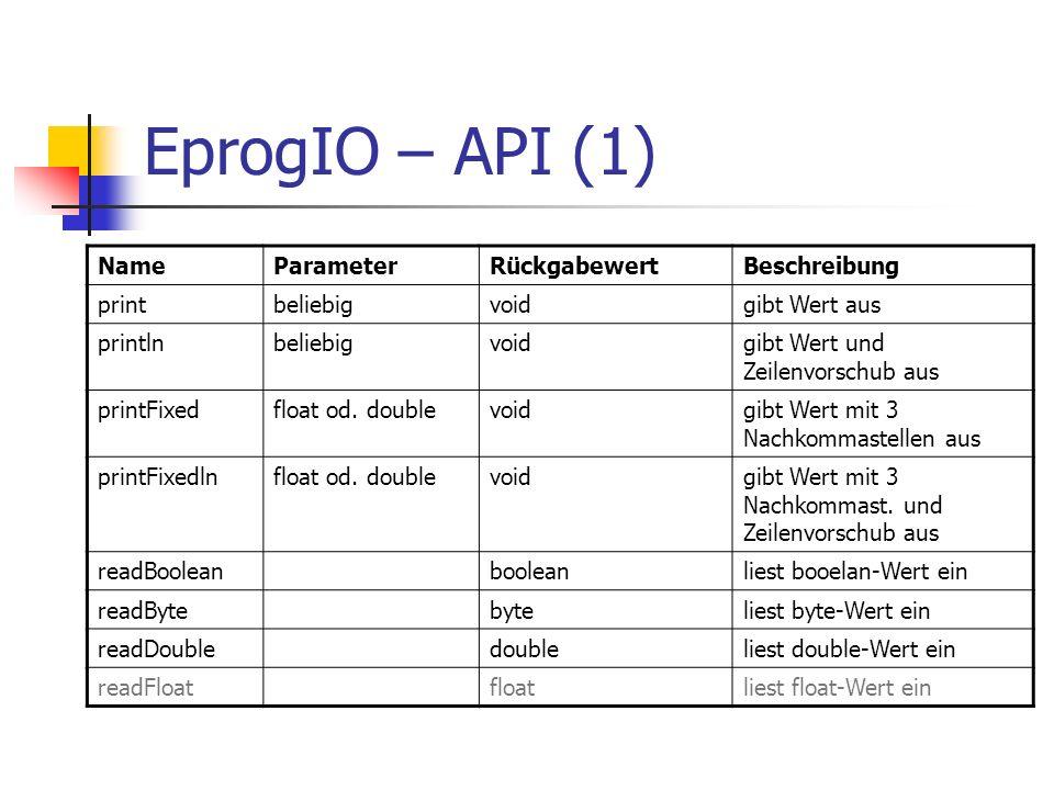 EprogIO – API (1) Name Parameter Rückgabewert Beschreibung print