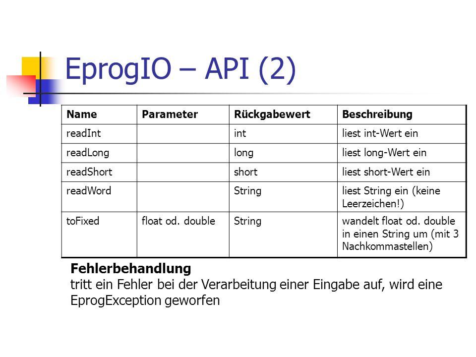 EprogIO – API (2) Fehlerbehandlung