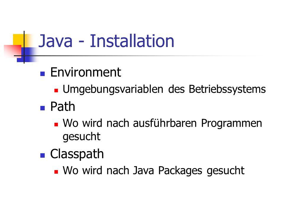 Java - Installation Environment Path Classpath