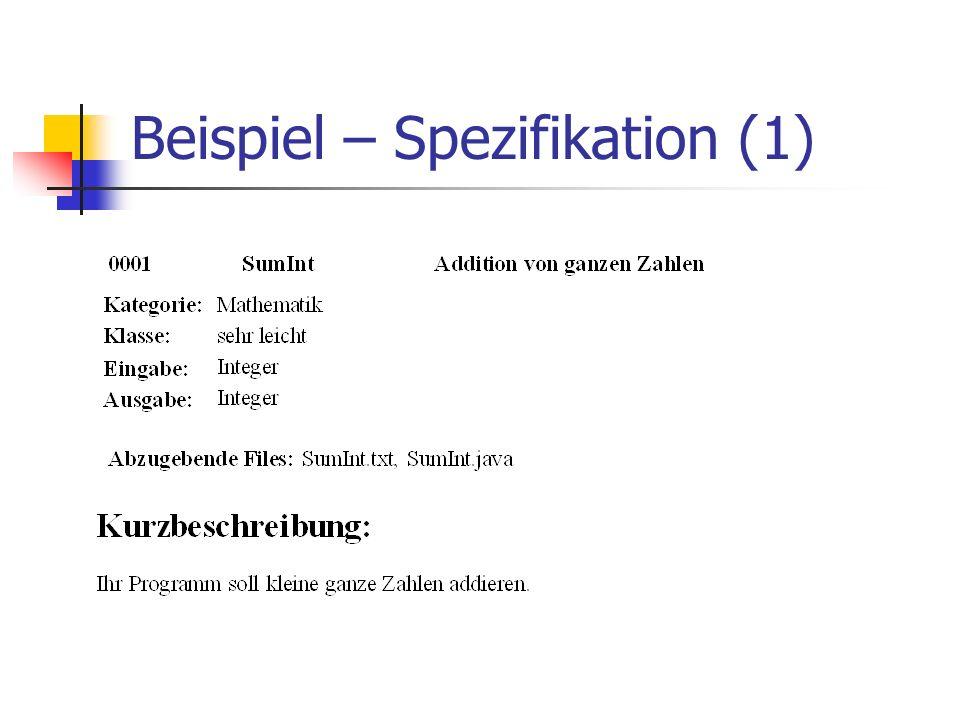 Beispiel – Spezifikation (1)