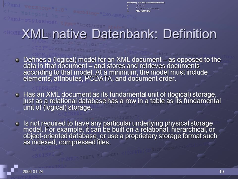 XML native Datenbank: Definition