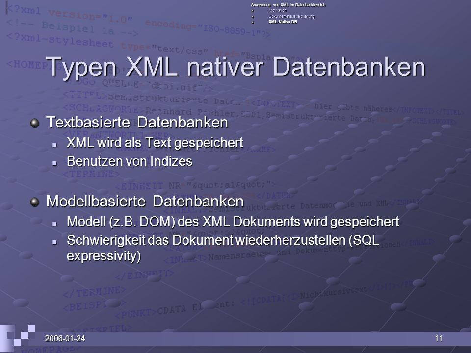 Typen XML nativer Datenbanken
