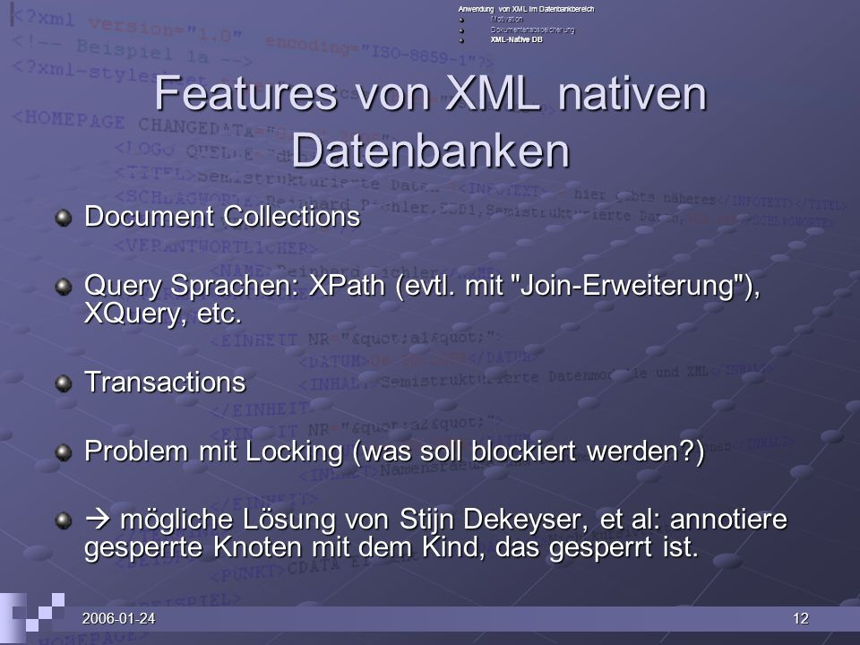 Features von XML nativen Datenbanken