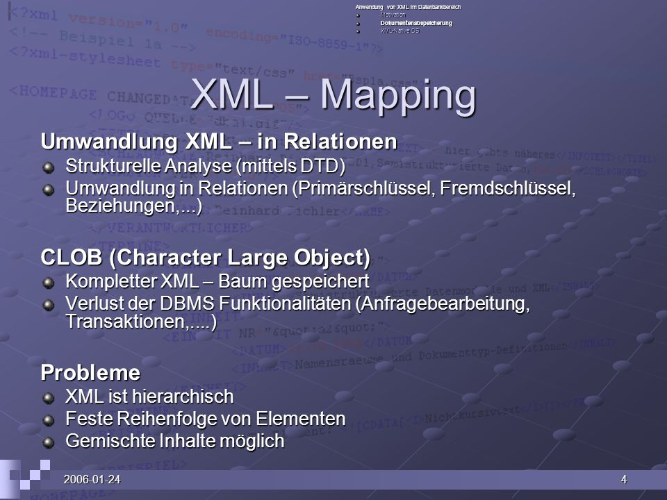 XML – Mapping Umwandlung XML – in Relationen