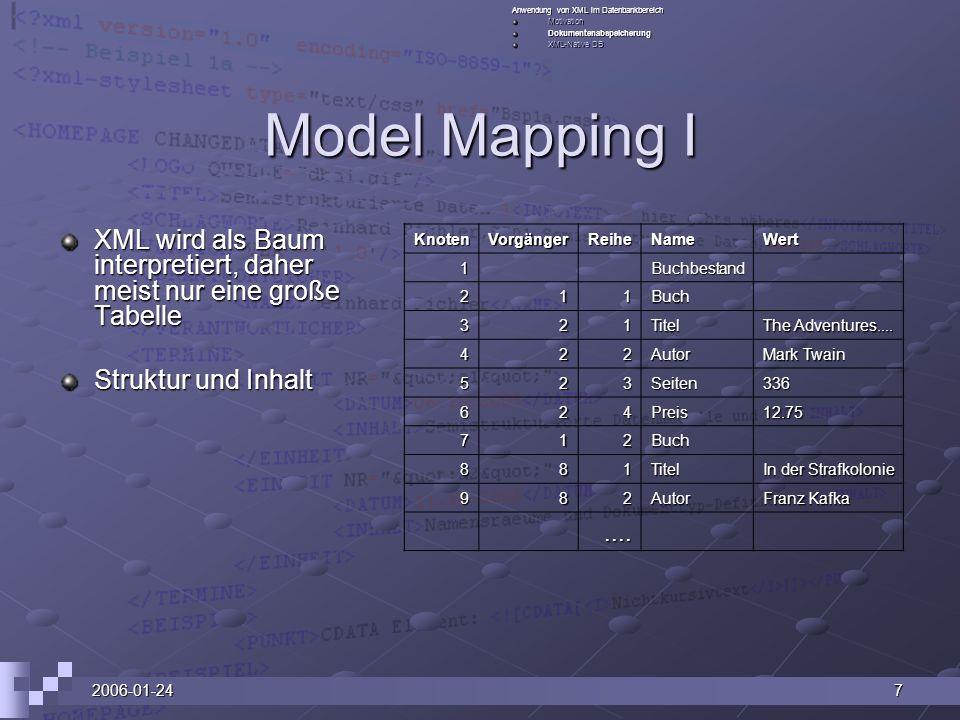 Anwendung von XML im Datenbankbereich