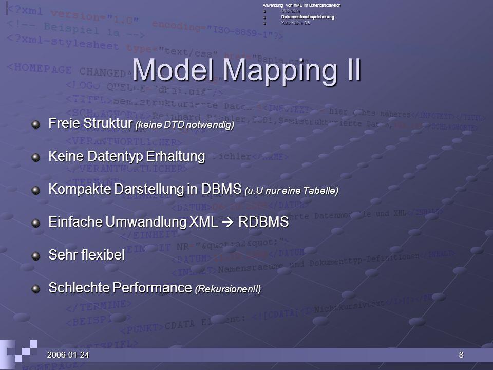 Model Mapping II Freie Struktur (keine DTD notwendig)