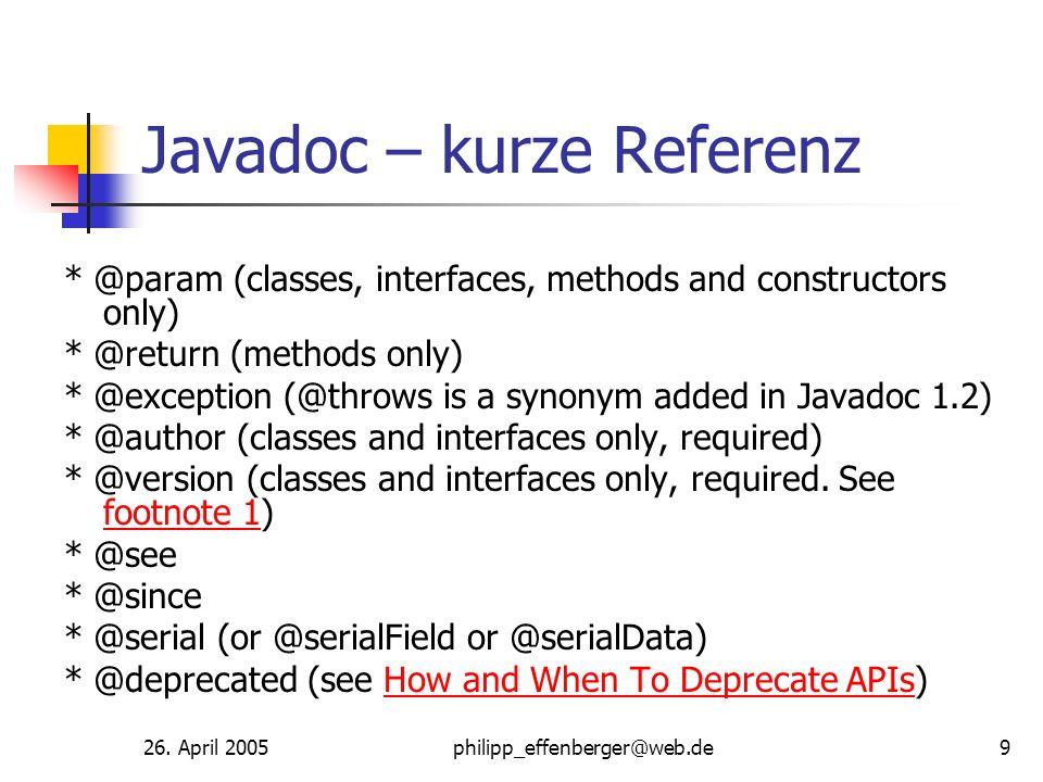Javadoc – kurze Referenz