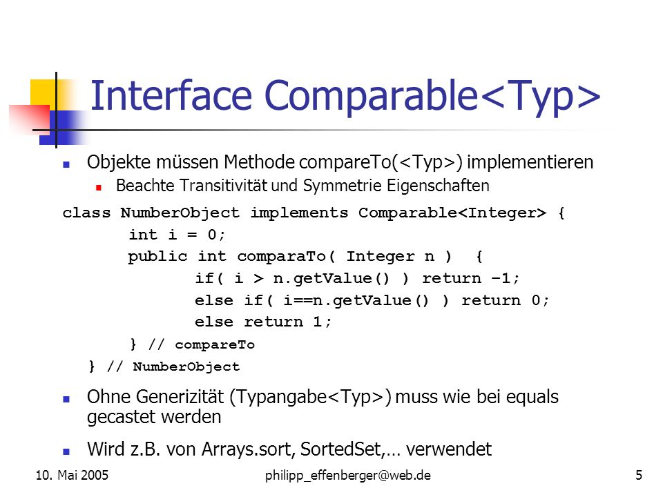 Interface Comparable<Typ>