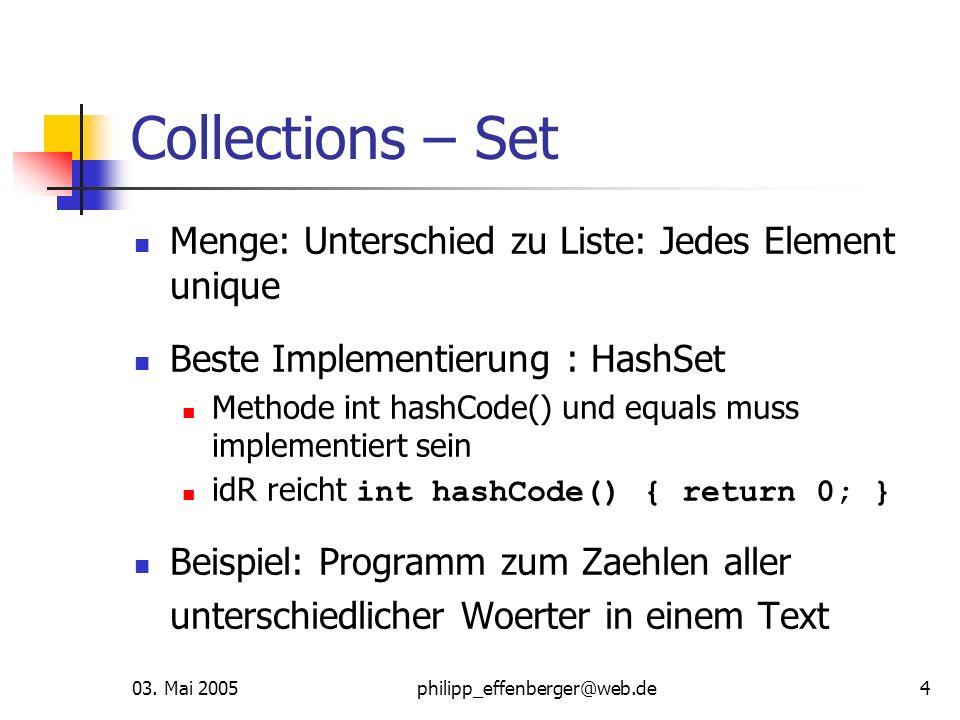 Collections – Set Menge: Unterschied zu Liste: Jedes Element unique