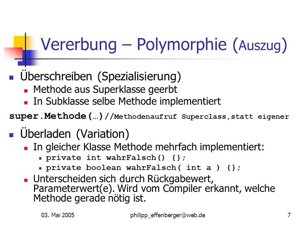 Vererbung – Polymorphie (Auszug)