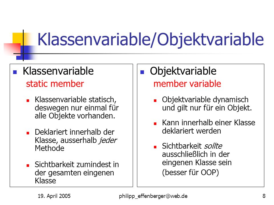 Klassenvariable/Objektvariable