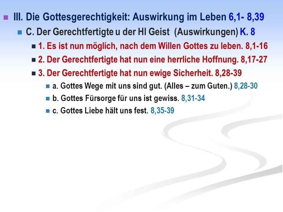 III. Die Gottesgerechtigkeit: Auswirkung im Leben 6,1- 8,39