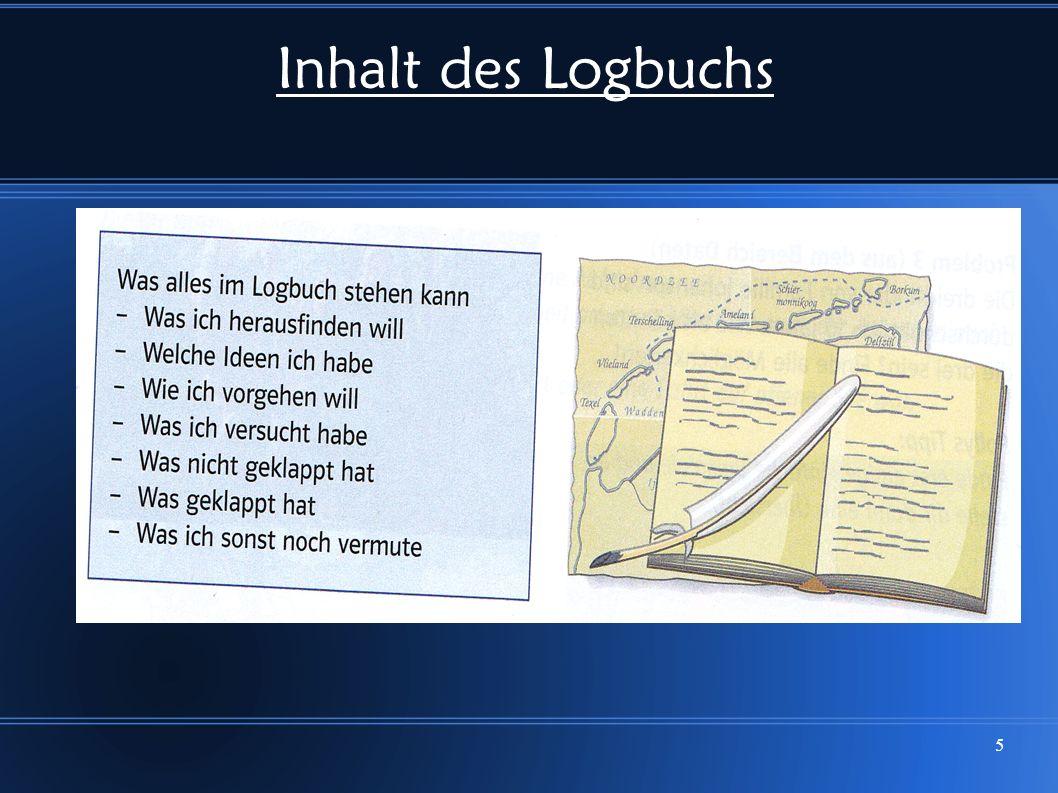 Inhalt des Logbuchs