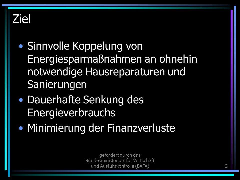 Ziel Sinnvolle Koppelung von Energiesparmaßnahmen an ohnehin notwendige Hausreparaturen und Sanierungen.