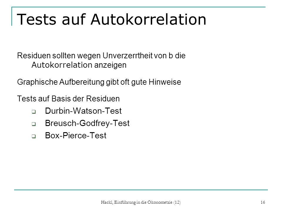 Tests auf Autokorrelation