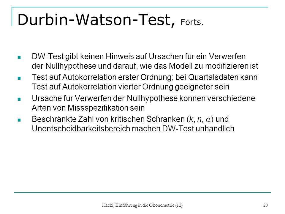 Durbin-Watson-Test, Forts.