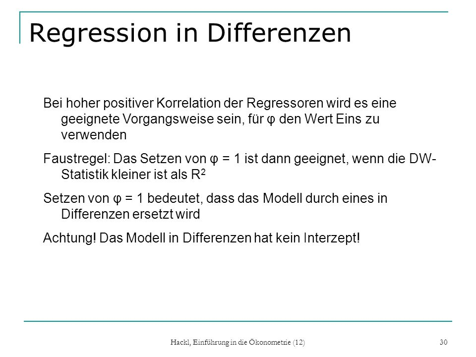Regression in Differenzen