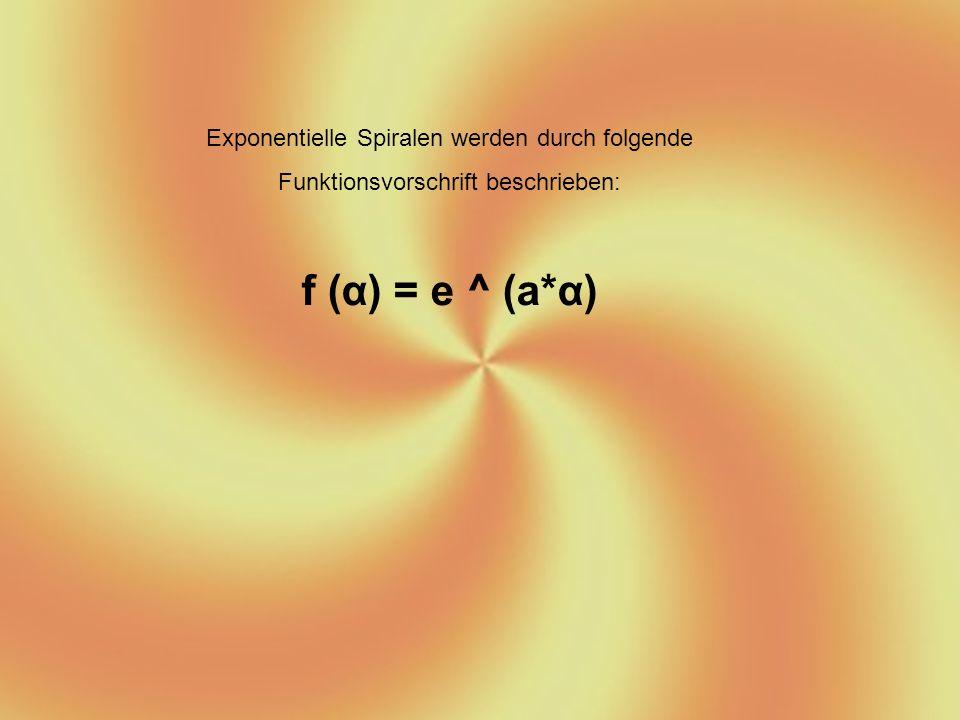 f (α) = e ^ (a*α) Exponentielle Spiralen werden durch folgende