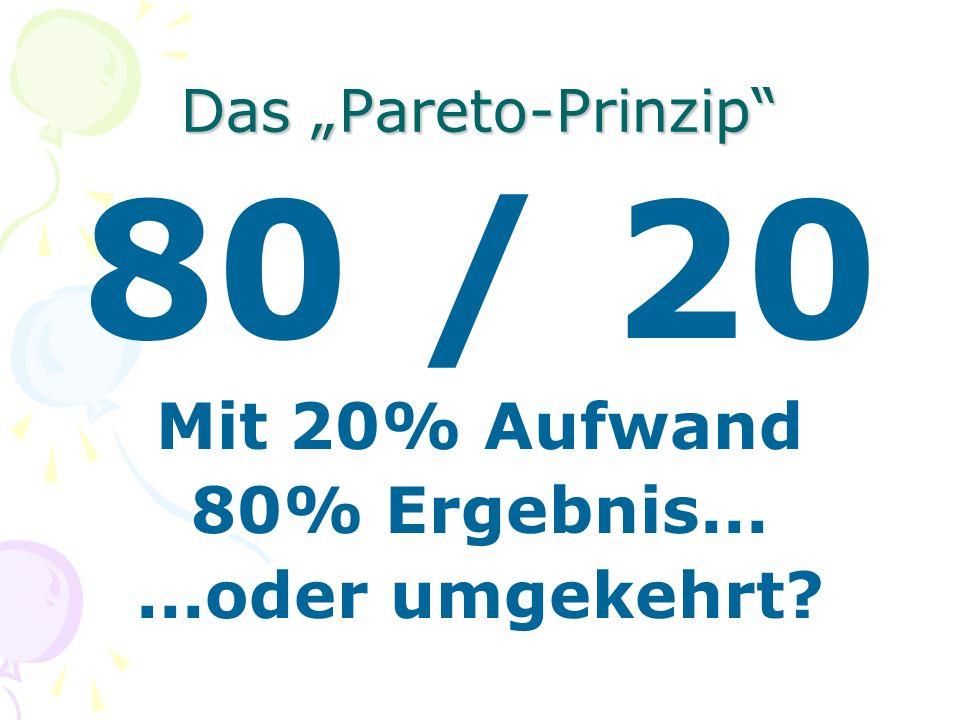 80 / 20 Mit 20% Aufwand 80% Ergebnis... ...oder umgekehrt