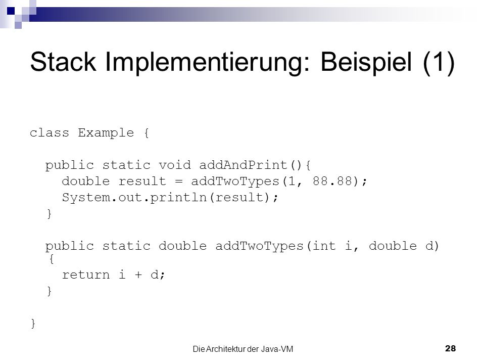 Stack Implementierung: Beispiel (1)