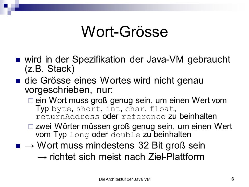 Die Architektur der Java-VM