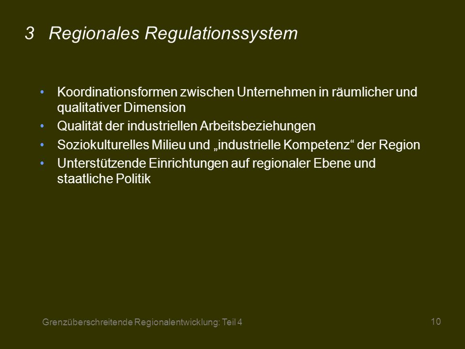 3 Regionales Regulationssystem
